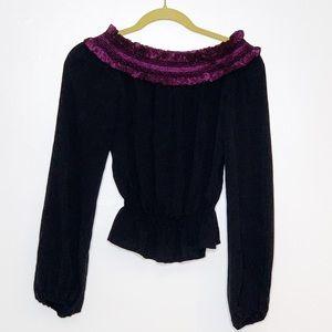 Escada 100% silk off the shoulder ruffled blouse